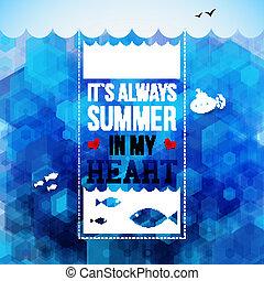 luminoso, hexágono, verão, poster., feriados, vetorial, experiência., illustration., tipografia, design.