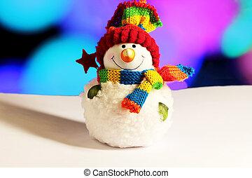 luminoso, inverno, boneco neve, bonito, decoração