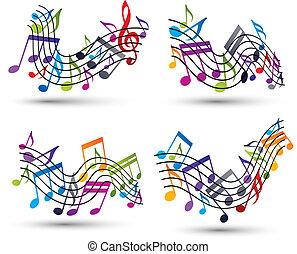 luminoso, jovial, vetorial, aduelas, com, partituras, branco, backgroun