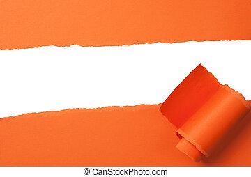 luminoso, laranja, rasgado, papel, com, espaço cópia