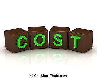 luminoso, letras, verde, custo, inscrição
