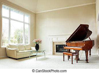 luminoso, luce giorno, soggiorno, con, pianoforte a coda