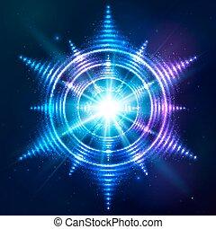 luminoso, lucente, blu, neon, sole, a, scuro, cosmico, fondo