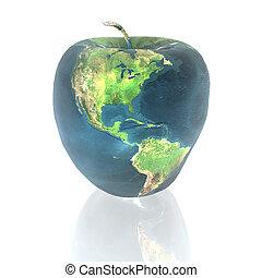 luminoso, maçã, com, terra, textura