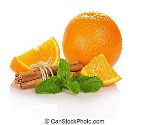luminoso, maduro, laranja, a, conectado, varas, de, canela