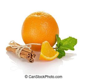 luminoso, maduro, laranja, varas, de, canela, e, hortelã