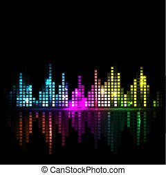 luminoso, onda sonora, o, cityscape, fondo