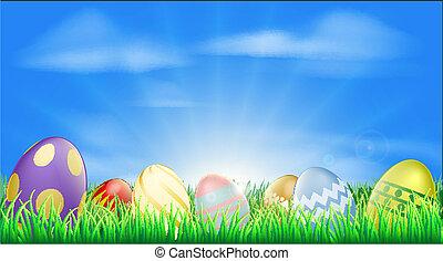 luminoso, ovos páscoa, fundo