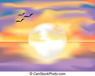 luminoso, pôr do sol