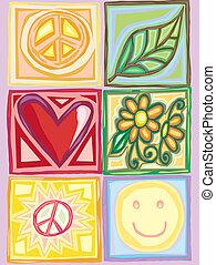 luminoso, pace, amore, scatole
