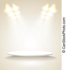 luminoso, palcoscenico, con, luci punto