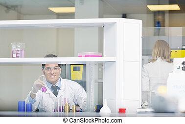 luminoso, pessoas, laboratório, ciência