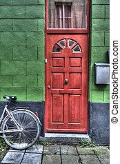luminoso, porta, rosso