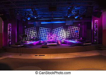 luminoso, pronto, concerto, palcoscenico