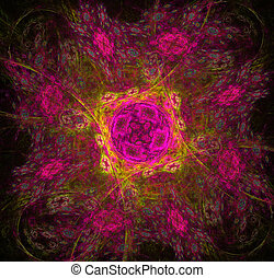 luminoso, quadrato, fractal, fiori, fondo