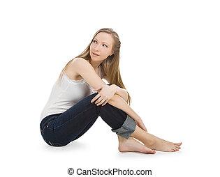 luminoso, quadro, de, feliz, e, despreocupado, menina adolescente, sentar chão