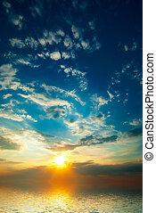 luminoso, raggi, tramonto