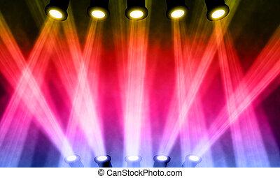 luminoso, riflettore, illustrazione, palcoscenico