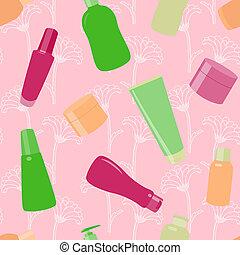 luminoso, seamless, padrão, com, cosmético, garrafas