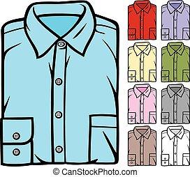 luminoso, set, piegato, camicie