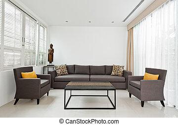 luminoso, sofá, vivendo, cinzento, sala