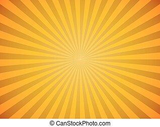 luminoso, sole giallo, scoppio, orizzontale, vettore, fondo.