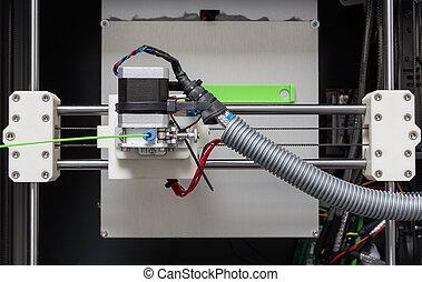 luminoso, stampante, verde, filamento, 3d