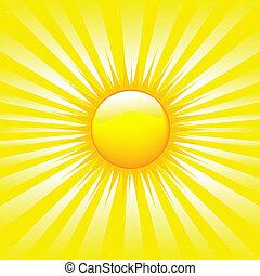 luminoso, sunburst, con, raggi