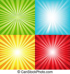 luminoso, sunburst, fundo, com, vigas, e, estrelas