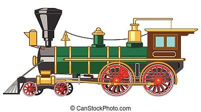 luminoso, vapor, locomotiva, caricatura