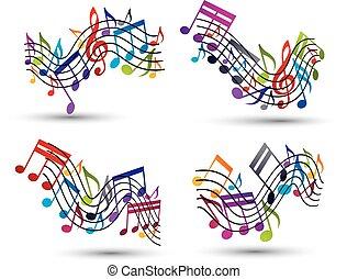 luminoso, vetorial, jovial, aduelas, com, partituras, branco, backgroun