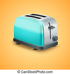 luminoso, vetorial, metal, toaster., fundo
