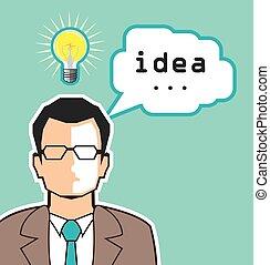luminoso, vettore, idea, illustrazione, uomo
