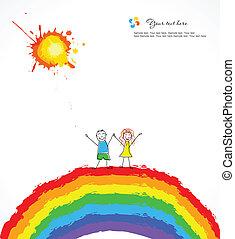 luminoso, vettore, rainbow., fondo, bambini, felice