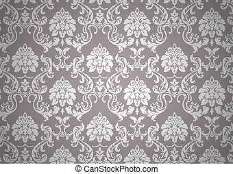 Luminous baroque wallpaper, white and beige on revival style