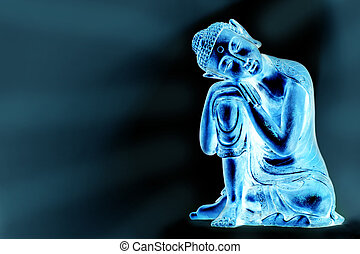 Luminous Buddha - A glowing Buddha statue resting, in front...