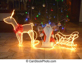 Luminous deer with sled and Grandparent by Frost under fir tree with toy on dark background