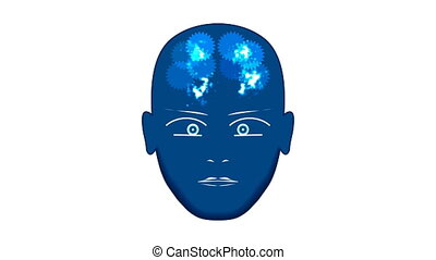 Luminous dots show the work of the brain in the human head...