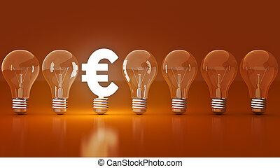 Luminous euros sign with light bulbs. rendering 3D