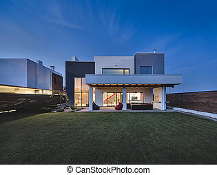 Luminous modern country house - Glowing country house in a...