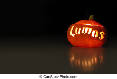 luminous pumpkin containing the word lumos