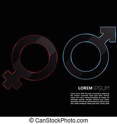 Luminous sign of the feminine and masculine beginning