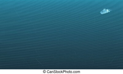 Luminous submarine under water