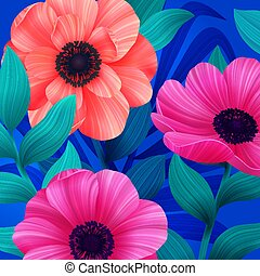 Luminous tropical background with pink and coral flowers. Beautiful anemones and leaves on blue background. Trendy design for wallpapers, screensavers, wedding or greeting cards. Vector illustration