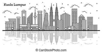lumpur, kuala, reflexiones, aislado, malasia, ciudad de ...