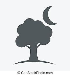 luna, árbol, iconos
