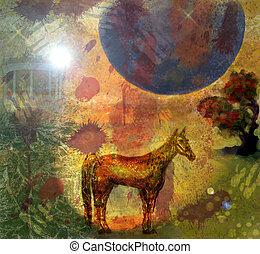 luna,  3, inmenso, noche, caballo