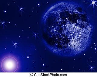 luna azul, escritorio