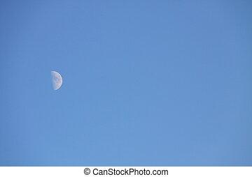 luna blu, cielo, mezzo