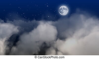 luna, con, nubi, spostamento